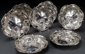 SET OF 7 REED & BARTON STERLING SILVER NUT DISH