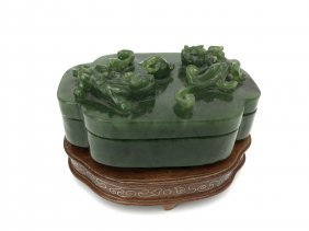 A GOOD CARVED CHINESE SPINACH JADE BOX AND COVER
