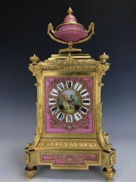 19TH CENTURY JEWELLED SEVRES & ORMOLU CLOCK