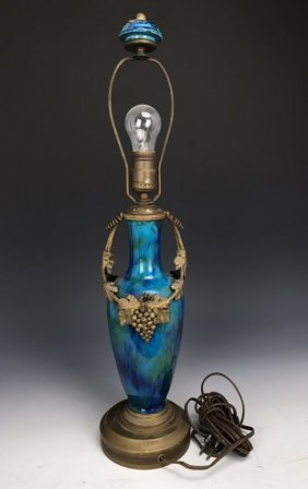 19TH CENTURY DORE BRONZE MOUNTED SEVRES LAMP