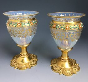 A PAIR OF ENAMELLED MOSER AND DORE BRONZE VASES