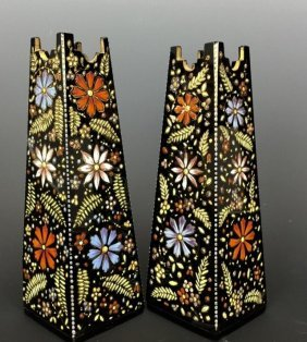 A FINE PAIR OF ENAMELLED MOSER VASES CIRCA 1880