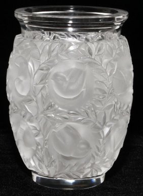 LALIQUE 'BAGATELLE' CLEAR & FROSTED GLASS VASE