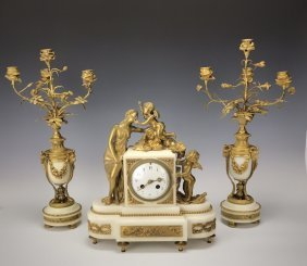 19TH C. FRENCH DROE BRONZE AND MARBLE CLOCK SET