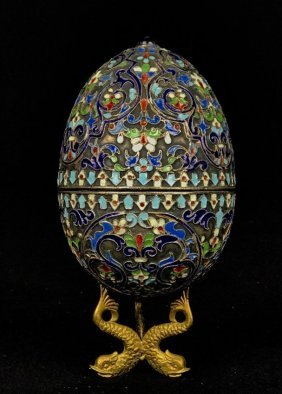 ANTIQUE RUSSIAN ENAMEL SILVER EGG