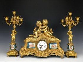 19TH CENTURY DORE BRONZE MOUNTED SEVRES CLOCK SET