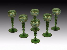 SET OF 6 ENAMELLED MOSER WINE GLASSES