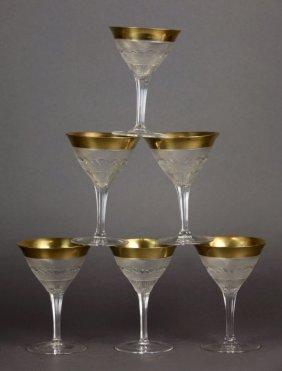 SET OF SIX MOSER SPLENDID GOLD CHAMPAGNE GLASSES