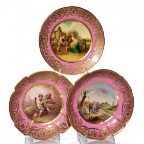 3 SEVRES STYLE ENGLISH PORCELAIN DISHES