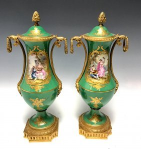 A PAIR OF 19TH CENTURY SEVRES STYLE PORCELAIN VASES