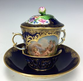 A MAGNIFICENT 19TH C. MEISSEN CHOCOLATE CUP AND SAUCER