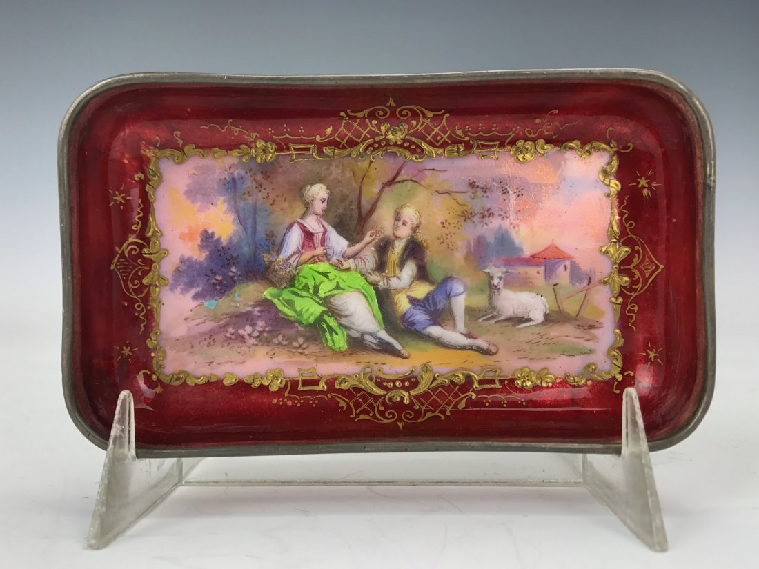 19TH CENTURY FRENCH LIMOGE ENAMEL DISH