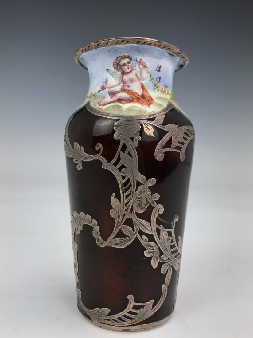A FRENCH SILVER INLAID LIMOGE ENAMEL VASE