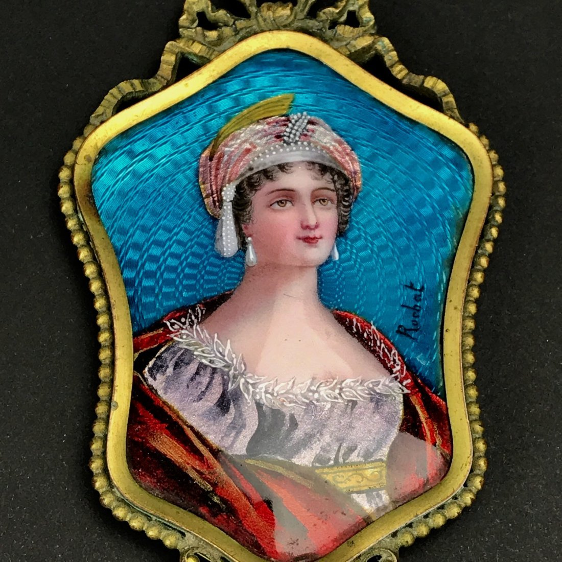 A FRENCH LIMOGE ENAMEL AND BRONZE MIRROR - 2