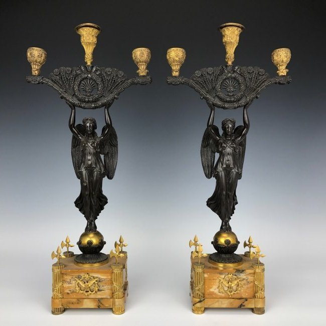 A PAIR OF 19TH C. EMPIRE STYLE BRONZE CANELABRA