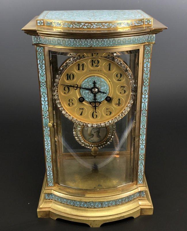 A 19TH C. TIFFANY & CO CHAMPLEVE ENAMEL CLOCK