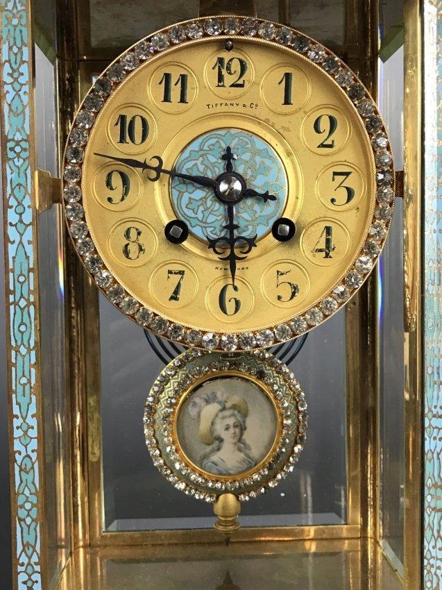 A 19TH C. TIFFANY & CO CHAMPLEVE ENAMEL CLOCK - 2
