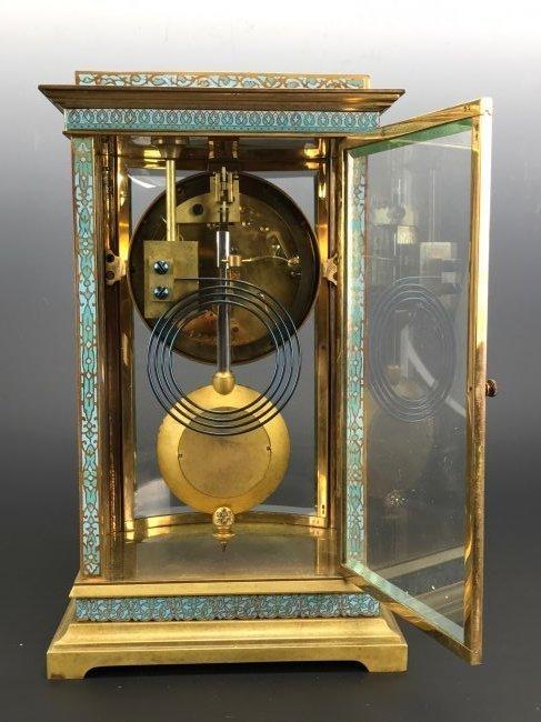 A 19TH C. TIFFANY & CO CHAMPLEVE ENAMEL CLOCK - 4