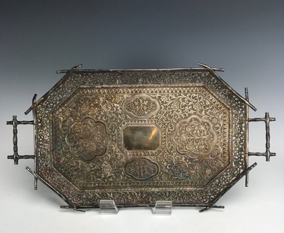 A LARGE ANTIQUE CHINESE SILVER TRAY