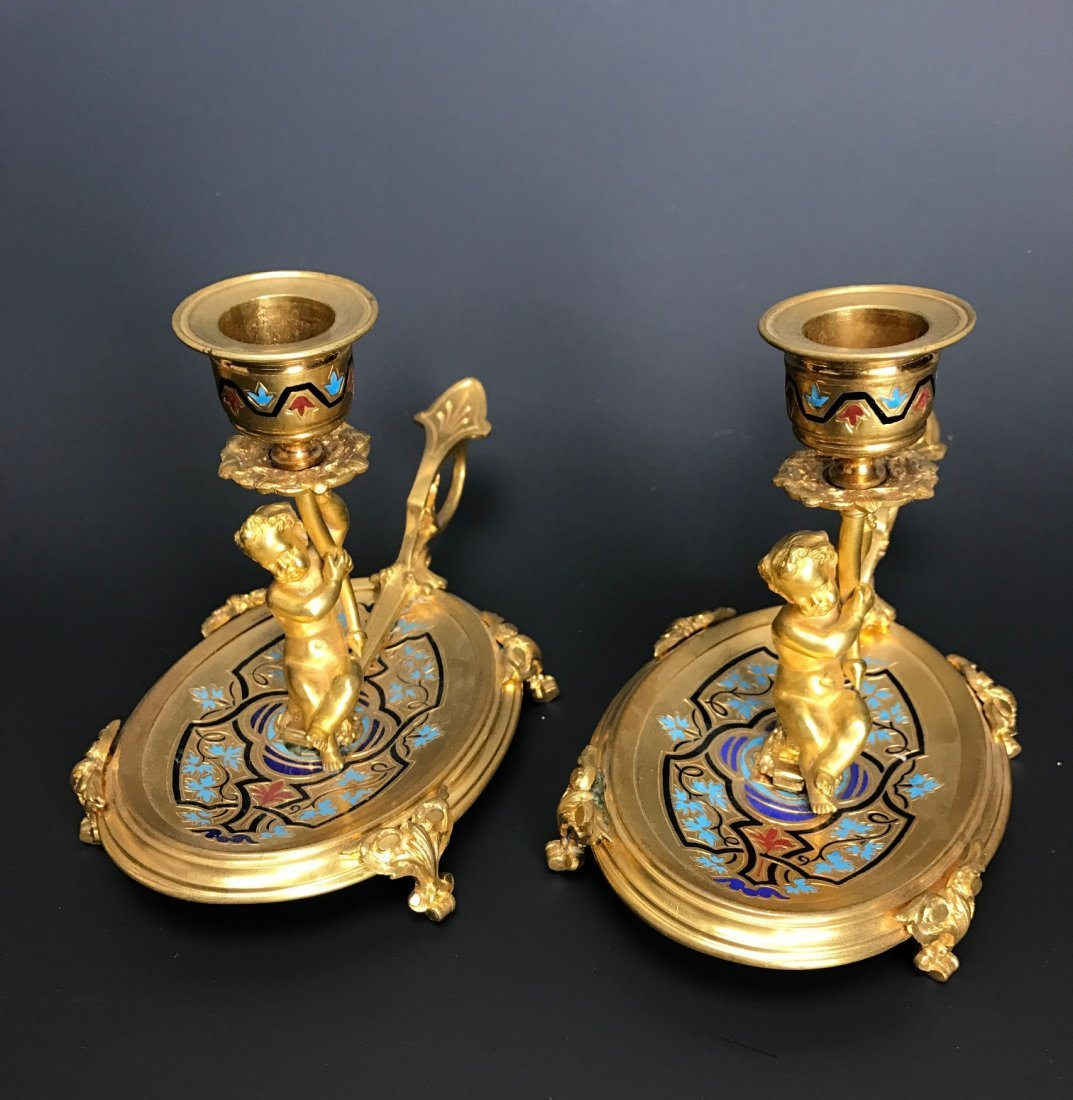 A PAIR OF 19TH C. FRENCH CHAMPLEVE ENAMEL CANDEL HOLDER