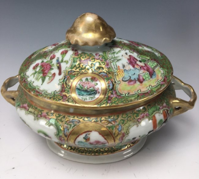 19TH CENTURY CHINESE ROSE CANTON SERVING DISH