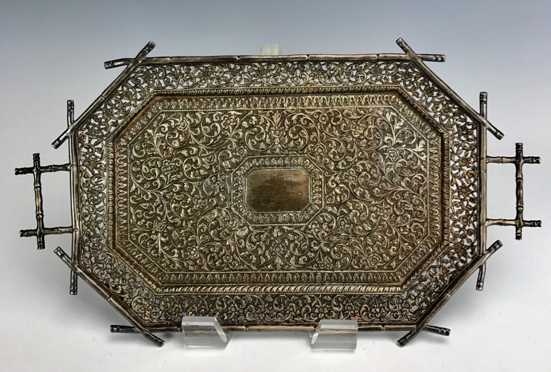 A LARGE CHINESE SILVER TRAY