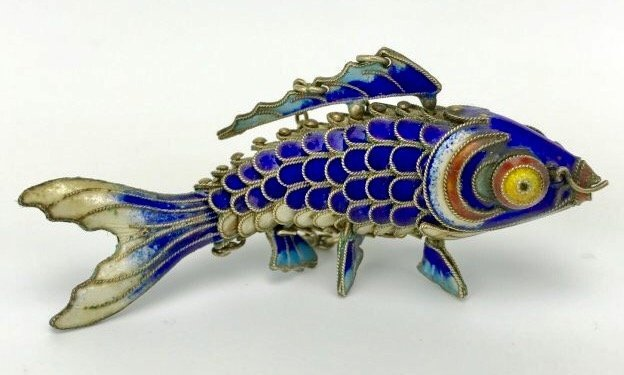 CHINESE SILVER ENAMEL FISH - 3
