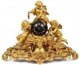 A MONUMENTAL FRENCH DORE BRONZE FIGURAL CLOCK