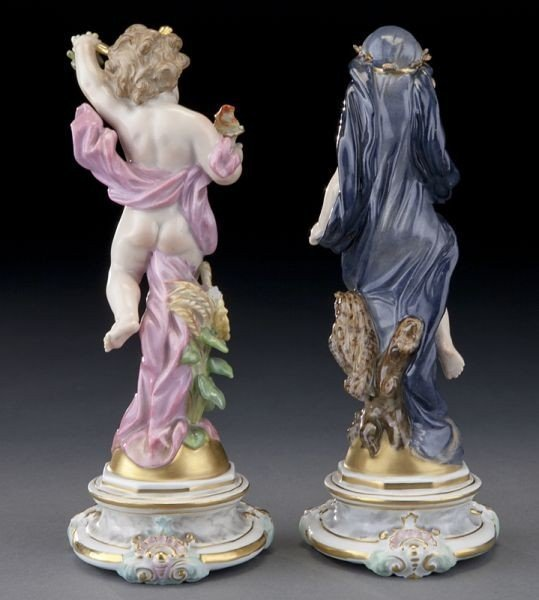 A PAIR OF 19TH C. MEISSEN DAY & NIGHT FIGURES - 2