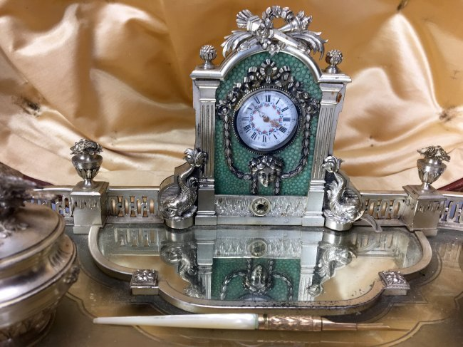 FRENCH  SILVER ENAMEL & CRYSTAL ENCRIER WITH CLOCK - 2