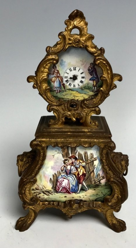 19TH CENTURY AUSTRIAN ENAMEL CLOCK