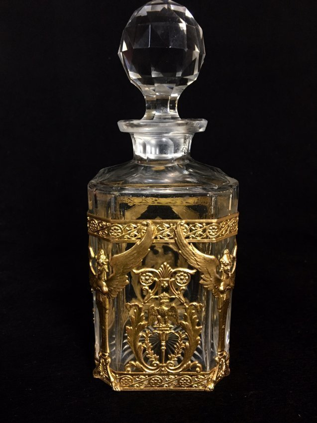 EMPIRE STYLE DORE BRONZE AND BACCARAT GLASS BOTTLE - 2