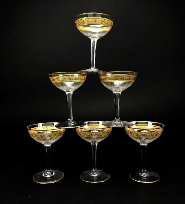 SET OF 6 SIGNED BACCARAT CHAMPAGNE COUPS