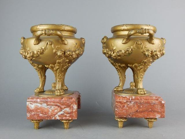 PAIR OF FRENCH GILT VASES ON MARBLE BASES - 2