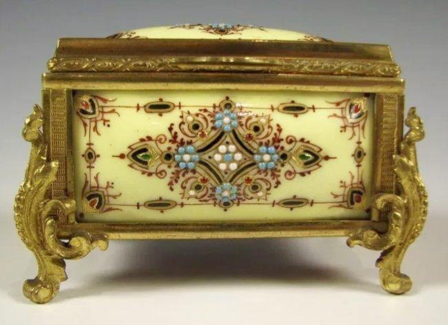 19TH C. JEWELLED FRENCH ENAMEL JEWLRY BOX