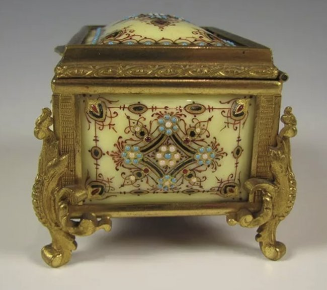 19TH C. JEWELLED FRENCH ENAMEL JEWLRY BOX - 2