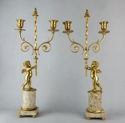 A PAIR OF DORE BRONZE AND MARBLE CANDELABRA