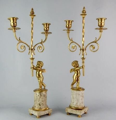 A PAIR OF DORE BRONZE AND MARBLE CANDELABRA - 2