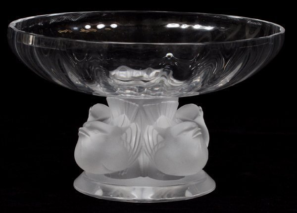 LALIQUE CLEAR & FROSTED GLASS COMPOTE