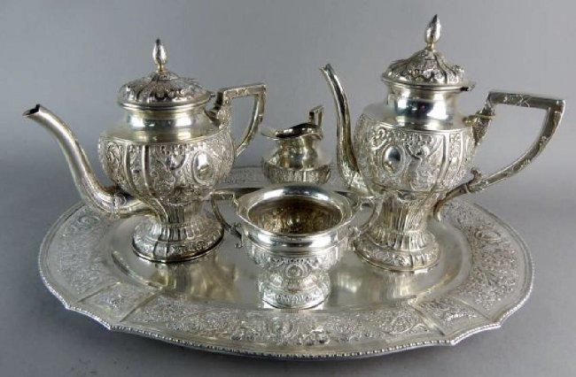 A 19TH C. GERMAN 800 SILVER TEA & COFFEE SET - 2