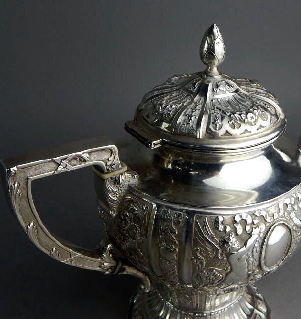 A 19TH C. GERMAN 800 SILVER TEA & COFFEE SET - 4