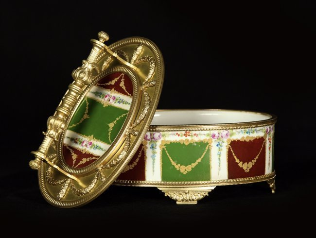 19TH CENTURY DORE BRONZE AND SEVRES STYLE PORCELAIN BOX