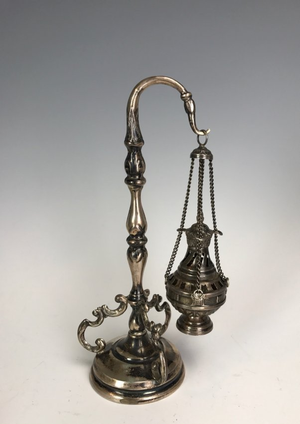 19TH C. SILVER LAMP