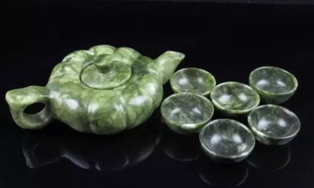 CHINESE CARVED SPINACH JADE TEA SET