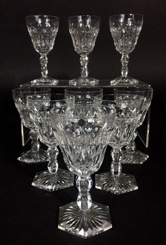 SET OF 9 VAL ST LAMBERT WINE GLASSES