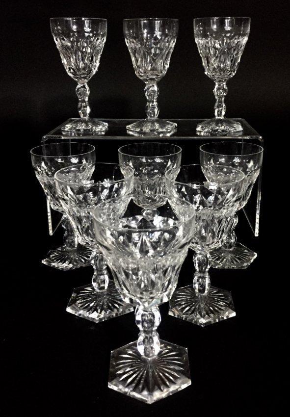 SET OF 9 VAL ST LAMBERT WINE GLASSES - 2