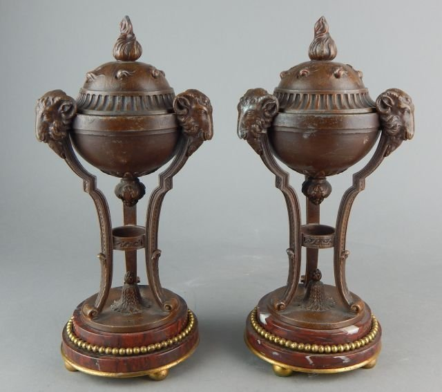 PAIR OF 19TH CENTURY ROUGE MARBLE AND BRONZED VASES