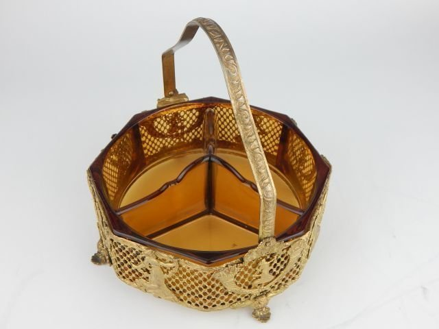 EMPIRE STYLE GILT BRONZE AND GLASS BOWL - 2