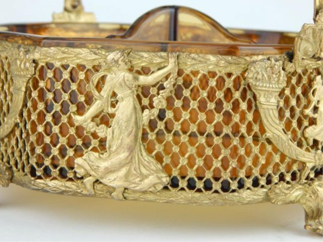 EMPIRE STYLE GILT BRONZE AND GLASS BOWL - 3
