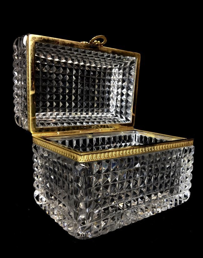 DORE BRONZE MOUNTED BACCARAT GLASS BOX - 2